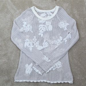 KNITTED & KNOTTED Sheer FLORAL Ivory KNIT SWEATER
